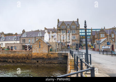 Seafront of and the Stromness Hotel ,Mainland ,Orkney Islands, Scotland - Stock Photo
