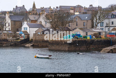 Boats in the port of Stromness ,Mainland ,Orkney Islands, Scotland - Stock Photo