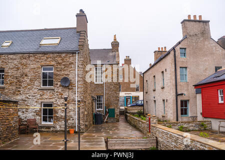 Stone cottages of Stromness ,Mainland ,Orkney Islands, Scotland - Stock Photo