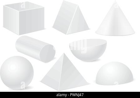 Geometric shapes. Set of white 3d mockups - Stock Photo