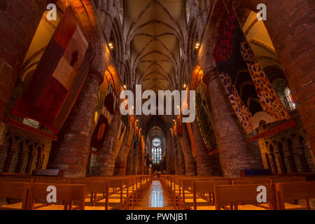 The interior of the Norman St Magnus Cathedral, Kirkwall, Orkney Islands, Scotland, United Kingdom - Stock Photo