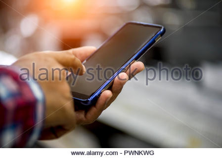Hands using smartphone, Internet of things concept, World wide technology - Stock Photo