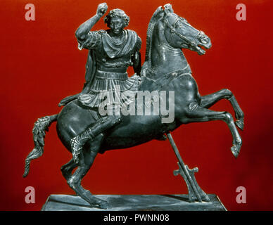 Alexander III the Great (356-323 BC.). King of Macedon. Equestrian statuette of Alexander riding Bucephalus. Bronze. 1st century BC - 1st century AD. Found in Pompeii. National Archaeological Museum. Naples, Italy. - Stock Photo