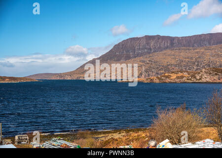 Ardmair, Loch Kanaird, Ben Mor Coigach, Ross shire, Scotland, Uk - Stock Photo