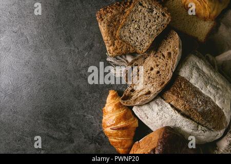 Variety of fresh baked bread - Stock Photo