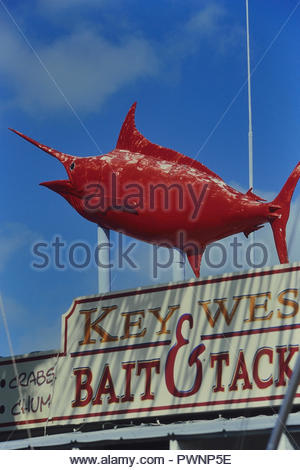 Red marlin model sign. Key West, Florida, USA - Stock Photo