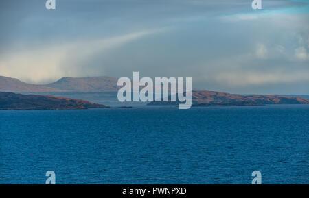 View onto the Isle of Skye from the Applecross Peninsula, Western Highlands, Scotland, Uk - Stock Photo