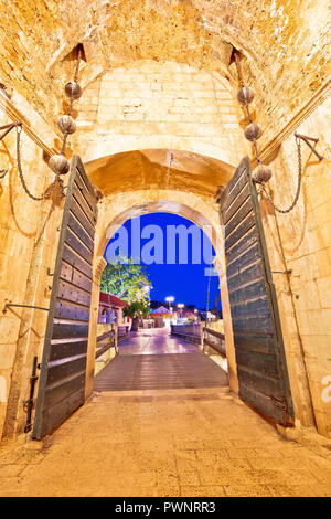 Pile gate entrance in historic town of Dubrovnik evening view, Dalmatia region of Croatia - Stock Photo