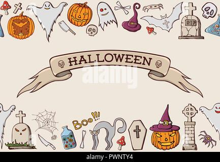 Color cartoon shapes on Halloween theme. Seamless border pattern. Ribbon with text. Celebration background with pumpkin, scull, spider, hat, cat, tomb - Stock Photo