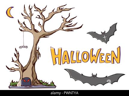 Color cartoon shapes on Halloween theme. Tree, moon, bats, spider. Handmade vector lettering. Isolated on white background. Vector illustration. - Stock Photo