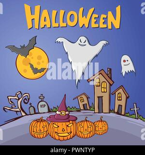 Color cartoon shapes on Halloween theme. Landscape of graveyard with old houses, trees, tombs, crosses, pumpkins, moon, bats, ghosts. Handmade vector  - Stock Photo