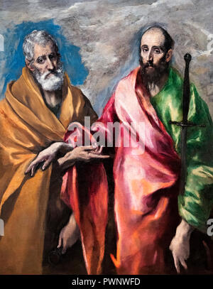 St Peter and St Paul by El Greco (Domenikos Theotokopoulos, 1541-1614), oil on canvas, c.1590-1600 - Stock Photo