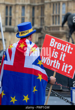 London, UK. 17th Oct 2018. Anti-Brexit campaigners outside Parliament on the day Theresa May goes to Brussels to try to get a deal on Brexit with the EU27. Brexit Demonstration, Parliament, London, Credit: Tommy London/Alamy Live News Stock Photo