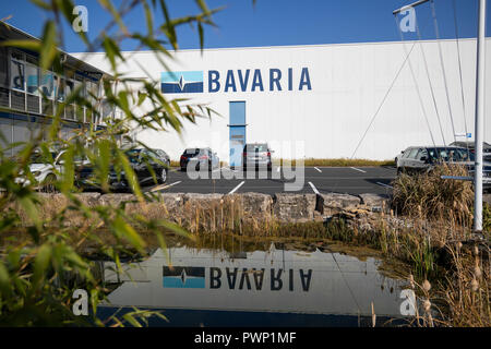 Giebelstadt, Bavaria. 17th Oct, 2018. Exterior view of the administration building of the Bavarian boat builder Bavaria Yachtbau. Credit: Daniel Karmann/dpa/Alamy Live News - Stock Photo