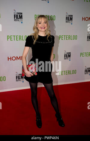 Manchester, UK. 17th October 2018. Actress Christine Bottomley arrives at the BFI London Film Festival premiere of Peterloo, at the Home complex in Manchester. Credit: Russell Hart/Alamy Live News - Stock Photo