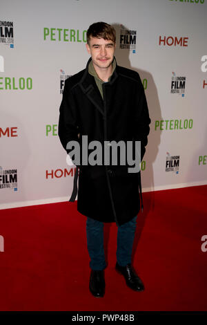 Manchester, UK. 17th October 2018. Actor Nico Mirallegro arrives at the BFI London Film Festival premiere of Peterloo, at the Home complex in Manchester. Credit: Russell Hart/Alamy Live News - Stock Photo