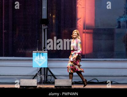 The Hague, Netherlands. 17th Oct, 2018. Queen Maxima of The Netherlands at the (Peacepalace) Vredespaleis in The Hague, on October 17, 2018, to attend the opening ceremony of the One Young World The Hague congress Credit: Albert Nieboer/ Netherlands OUT/Point de Vue OUT |/dpa/Alamy Live News - Stock Photo