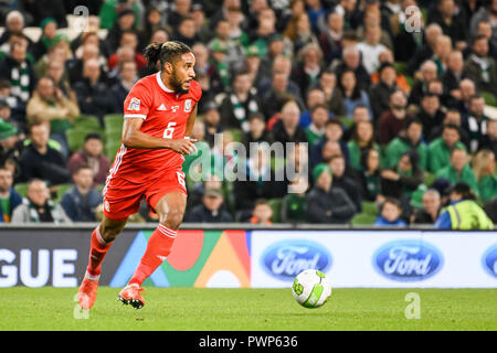 Dublin, Dublin, Ireland. 16th Oct, 2018. Ashley Williams seen in action during the Rep of Ireland vs Wales UEFA Nations League match at the Aviva Stadium.Final Score Ireland 0-1 Wales Credit: Ben Ryan/SOPA Images/ZUMA Wire/Alamy Live News - Stock Photo