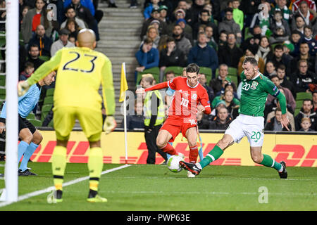 Dublin, Dublin, Ireland. 16th Oct, 2018. Ben Woodburn and Richard Keogh seen in action during the Rep of Ireland vs Wales UEFA Nations League match at the Aviva Stadium.Final Score Ireland 0-1 Wales Credit: Ben Ryan/SOPA Images/ZUMA Wire/Alamy Live News - Stock Photo