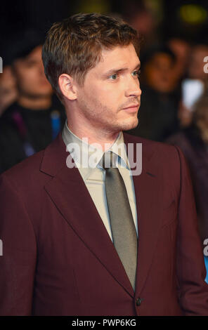 London, UK. 17th October, 2018. Billy Howle  attends the 'Outlaw King' premiere, BFI London Film Festival, UK - 17 Oct 2018 Credit: Gary Mitchell, GMP Media/Alamy Live News Stock Photo