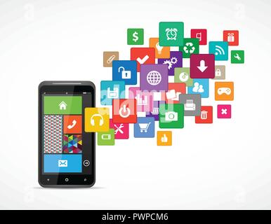 Icons communications and applications for mobile platforms - Stock Photo