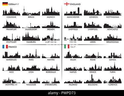 City skyline European countries Set of silhouettes of European cities - Stock Photo