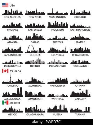 Large set of silhouettes of American cities - Stock Photo