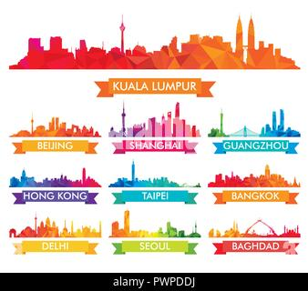 Colorful Skyline of Asian Cities big set of vector city silhouettes - Stock Photo