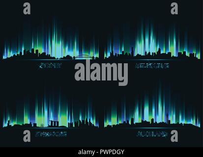 Neon сity skyline Sydney, Melbourne, Singapore and Auckland set of vector city silhouettes - Stock Photo