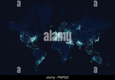 World map with global technology and telecommunication network. Vector illustration template for your design - Stock Photo