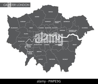 Vector Greater London administrative map detailed plan of the city, districts and neighborhoods - Stock Photo