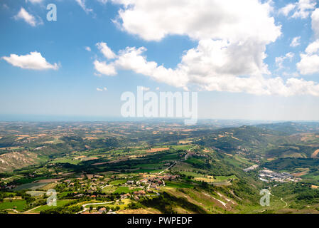 Landscape of  San Marino Suburban districts and Italian hills view from above. - Stock Photo