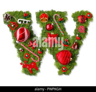 Christmas alphabet letter W isolated on white - Stock Photo