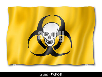 Biohazard death flag, three dimensional render, isolated on white - Stock Photo