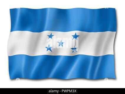 Honduras flag, three dimensional render, isolated on white - Stock Photo