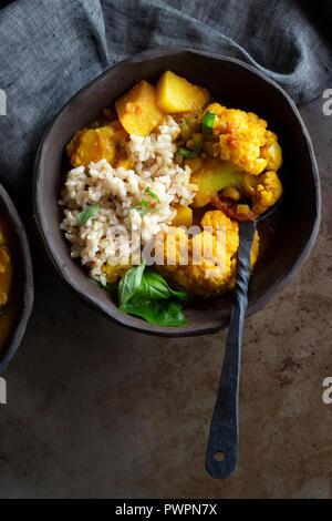 Indian Vegan curry dinner - Stock Photo