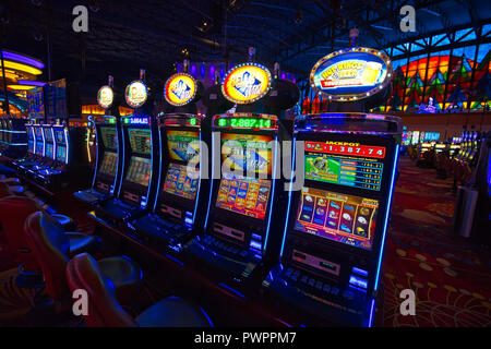 Buffalo, USA-20 July, 2018: Niagara Casino hall with slot machines and roulette tables - Stock Photo