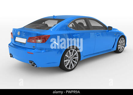 car isolated on white - blue paint, transparent glass - back-right side view - 3d rendering - Stock Photo