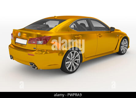 car isolated on white - golden, transparent glass - back-right side view - 3d rendering - Stock Photo
