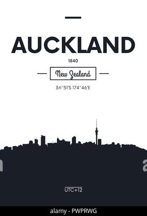 Poster city skyline Auckland, Flat style vector illustration interior decoration design - Stock Photo