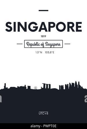 Poster city skyline Singapore, Flat style vector illustration interior decoration design - Stock Photo