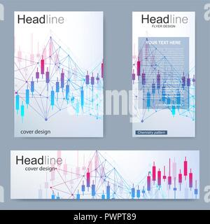 Set flyer, brochure size A4 template,banner.Stock market or forex trading graph. Chart in financial market vector illustration Abstract finance background - Stock Photo