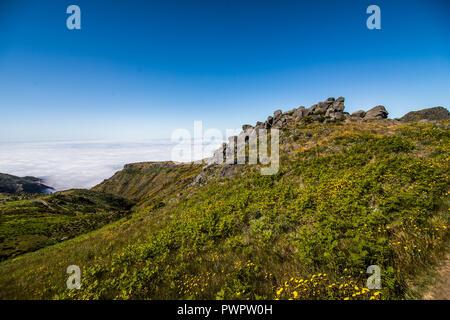 Pico do Arieiro mountain range viewpoint, located in Madeira island - Stock Photo