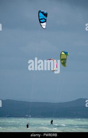 Kitesurfing on the Black sea coast in Burgas, Bulgaria - Stock Photo