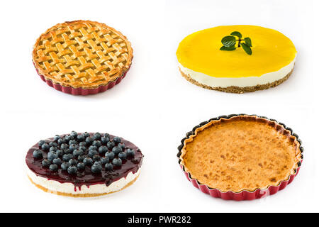 Pie and cake collage. Lemon pie, blueberry cheesecake, pumpkin pie and apple pie isolated on white background - Stock Photo