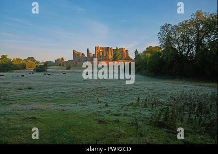 Kenilworth Castle, Warwickshire early autumn morning landscape scene - Stock Photo