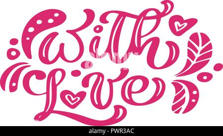 With Love red calligraphy lettering vintage vector text with scandinavian elements. For Valentines Day. Isolated on white background. For art template - Stock Photo