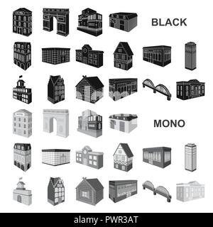 Building and architecture black icons in set collection for design.The building and dwelling vector isometric symbol stock  illustration. - Stock Photo