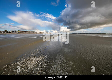 Clouds coming from the sea to Le Crotoy, France - Stock Photo