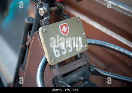 Schweizer Fahrradkennzeichen, Fahrrad-Nummerntafel - Stock Photo